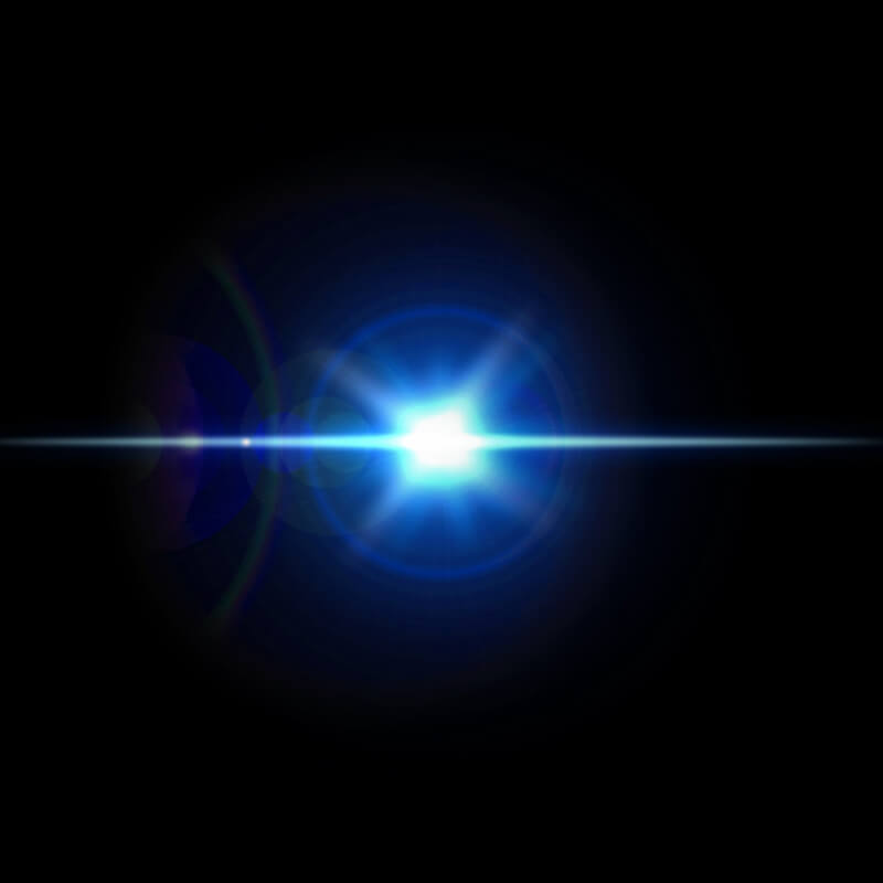 ブルーのレンズフレア